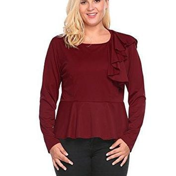 INVOLAND Womens Plus Size Long Sleeve Ruffles Solid Slim Fit Casual Peplum Top