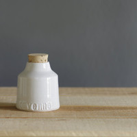 SALE cayenne spice bottle . white glaze. modern kitchen spice jar . simple modern ceramic pottery