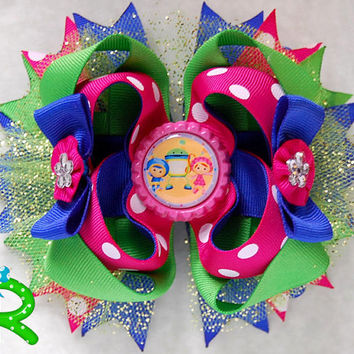 Team umizoomi hair bow , boutique bow , layered bow , stacked bow.