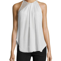 Sleeveless Lace-Inset Top, Vapor, Size: