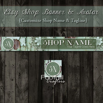 Etsy Banner and Matching Avatar, Premade Reclaimed Old Wood, Flowers, Green Tones, Customize Shop Name and Tagline, Graphic Design, Brand