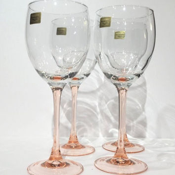 Luminarc Pink wine Glasses, Set (4) Pink Stemmed Wine Glasses, Pink Stemware Wine Glasses, Bridal or Hostess Gift, Wedding Toasting Glasses