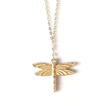 Aria Dragon Fly Pendant Necklace