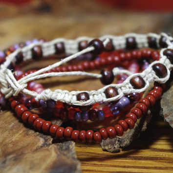 Summer Sunset Macrame and Beaded Stretch Stacking Bracelets