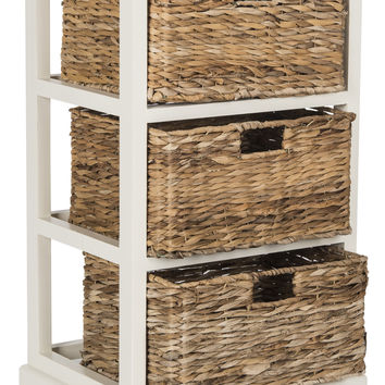 Halle 3 Wicker Basket Storage Side Table Distressed White