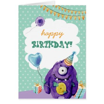 Customisable Birthday Card With Cute Monster