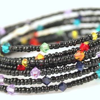 Memory wire bracelet rainbow multicolored Swarovski crystals black/white seed beads - FREE Shipping