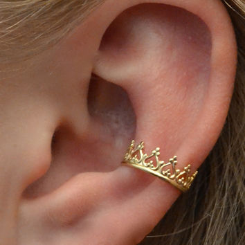 Ear Cuff  - Princess  Crown -  Gold Vermeil - SINGLE