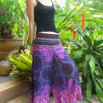 Purple Flare Cotton Trousers Boho Gypsy Mandala Harem Yoga Pants Hippie Festival | eBay