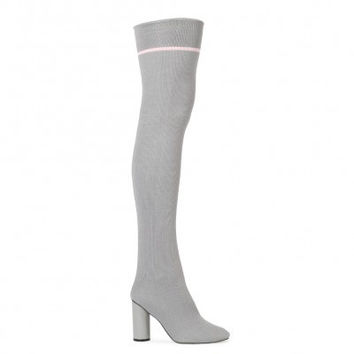 EMMY SOCK FIT STRIPE LONG BOOTS IN GREY