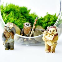 Star Wars Terrarium with Vintage Ewok Figurine & Live Plants Forest Scene DIY Terrarium Kit For Him