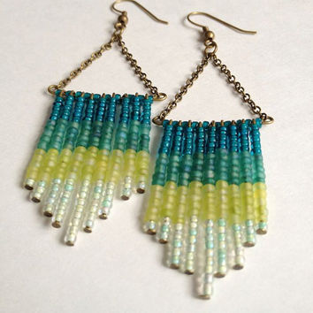 Reverse Ombre Earrings in Sea Foam