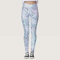 Lavender and Blue Watercolor Feathers Pattern Leggings