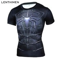 Brand 2018 Short Sleeve Outdoor Running Shirt Men Spiderman 3D t-shirt Quick Dry Sport Jerseys Gym Clothing Mens Top Rashgard