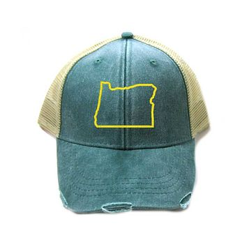 Oregon Hat - Distressed Snapback Trucker Hat - Oregon State Outline - Many Colors Available