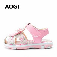 AOGT 2019 Baby Sandals Girls Baby Summer Shoes Non-slip Soft Bottom Girl Princess Shoes Bow Flowers Kids Sandals Toddler Shoes