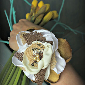 Wrist Corsage in Burlap, Satin and Lace Flower for Weddings, Prom, Bridesmaids or Bracelet