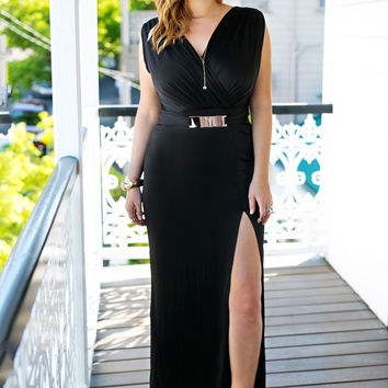 Black Surplice Grecian-Style Long Dress
