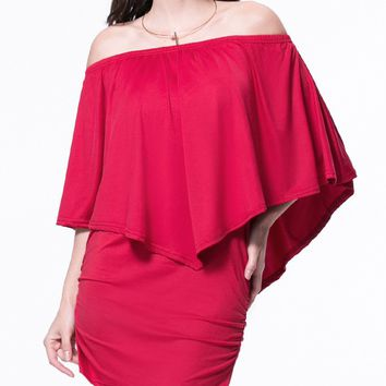 Streetstyle  Casual Off Shoulder Solid Bodycon Dress With Cape Sleeve