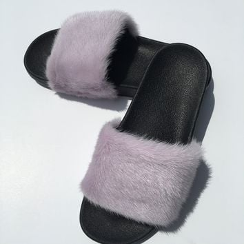 Take me out pastel purple mink fur slides mink fur slippers