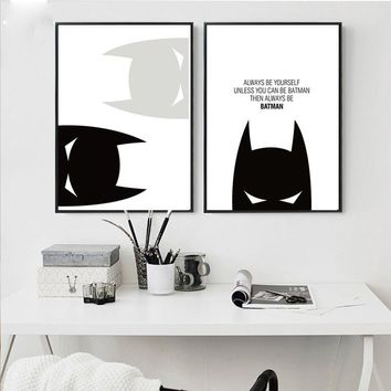Batman Dark Knight gift Christmas Cartoon Superheroes Batman Motivational Poster Quote Print Wall Art Canvas Painting Nursery Picture Baby Living Room Home Decor AT_71_6
