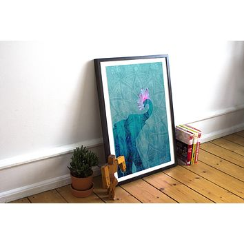Blue Indian Elephant Poster Bohemian Art Print Poster With Pink Lotus Flower Design no frame 20x30 Large