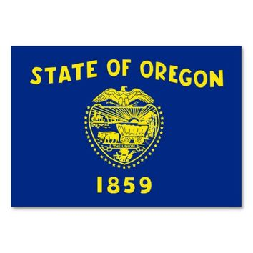 Patriotic table card with Flag of Oregon