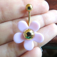 Light Pink Cherry Blossom Mod Flower Power Daisy Belly Button Jewelry Navel Ring Piercing Bar Barbell Hippie Gold Stud