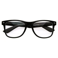 Standard Retro Clear Lens Nerd Geek Assorted Color Horn Rimmed Glasses (Black)