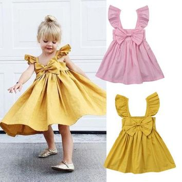 Newborn Kids Baby Girls Bow Princess Tutu Dress Clothes Outfits Sundress Summer Solid Toddler Infant Girl Dresses Sleeveless