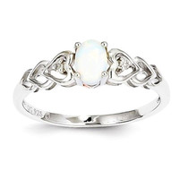 Sterling Silver Cr. White Oval Opal & Diamond Heart Band Ring