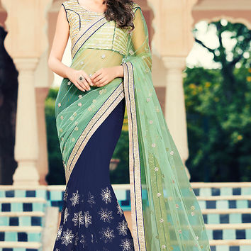 Blue and Green Georgette Party Wear Saree