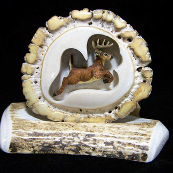 Artisan Elk Horn Belt Buckle, Jumping 10 Point Buck Deer, Perfect Hunter Gift, Hand Crafted Buckle 817
