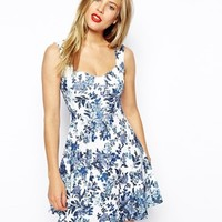 ASOS Skater Dress with Sweetheart Neck and Floral Texture Print at asos.com