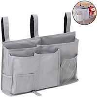 Bedside Caddy, Aiduy Hanging Storage Bag Holder Beside Organizer with 8 Pockets for Bunk Dorm Rooms and Hospital Bed Rails, Grey