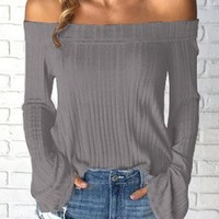 Flare Sleeve Off the Shoulder Grey Blouse | linkshe.com - USD $30.48
