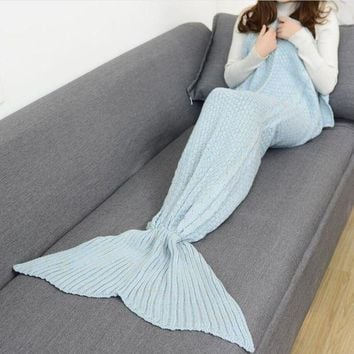 PEAPON Winter Spring Warm Handmade Knitted Mermaid Sofa Blanket Home Baby Children Adult Light blue Tagre-