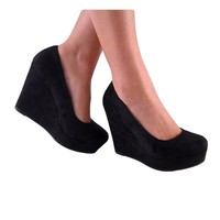 Soda Beer-S Wedges Pumps-Shoes, Black Suede, 9