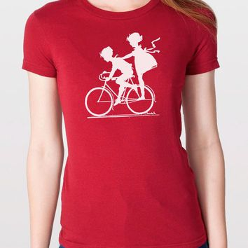 Women's T Shirt Vintage Graphic Children Biking T-shirt Wife Gift Mother's Day Mom Gift Cool Shirt