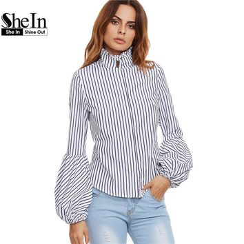 SheIn Women Tops and Blouses 2016 New Fashion Shirt White Vertical Striped Ruffle Collar Lantern Sleeve Slim Blouse