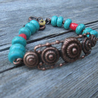 Antiqued Copper / Turquoise / Blue Magnesite / Orange / Glass Beads / Bracelet / Boho / Colorful / Gypsy / Summer / Layering / Stackable