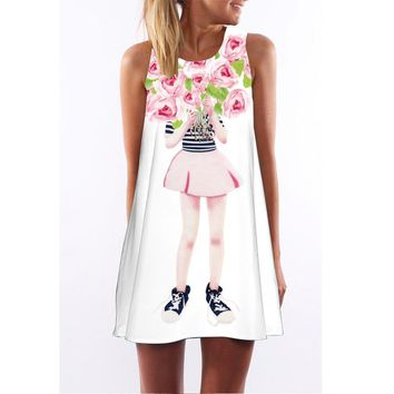 13-20 Girls Summer Dress Clothes 2018 Big kids Dress with beautiful girl flower 3D print Princess Dress teenage Clothing