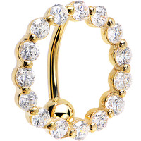 Solid 14KT Yelllow Gold REVERSE Zirconia CIRCLE Belly Ring | Body Candy Body Jewelry