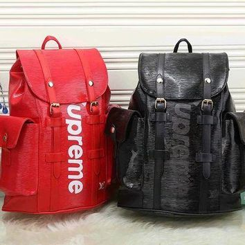 DCCKU62 LV x Supreme Fashion Leather Backpack Travel Bag Purse Wallet Card Bag Set Four-Piece