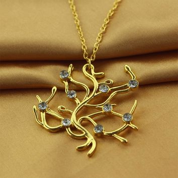 2017 New Beauty and the Beast movie Belle Rose tree Crystal Golden Pendant necklace chain cosplay accessary