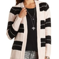 Striped Open Front Cardigan Sweater by Charlotte Russe