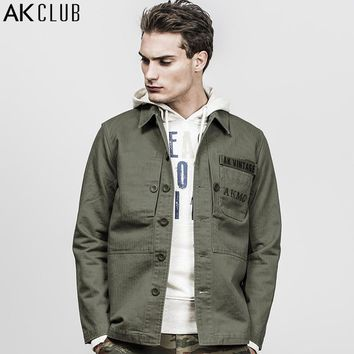 Men Jacket Marine Corps Vintage Series Field Jacket Padded Herringbone Cotton Coat Breathable Jacket