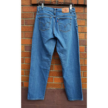 Vintage Levis 550 Red Tab Tapered Leg Relaxed Fit, Blue Jeans, 80s Denim, 32 Waist