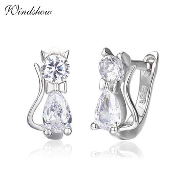 Cute Kitty Kitten Cat CZ 925 Sterling Silver Gatos Small Loop Huggies U Hoop Earrings For Kids Baby Girls Children Jewelry Aros