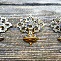 Vintage KBC Antiqued Brass Teardrop Pulls by www.MagicalBeansHome.com